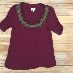 Deletta Tops - Anthropologie Deletta Burgundy Top with Beading, M